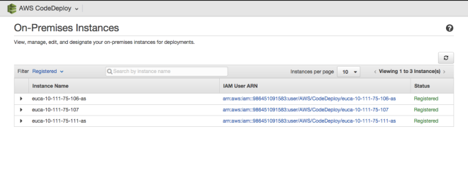 Display of Registered On-Premise Instances for AWS CodeDeploy