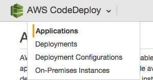 Displaying the dropdown box options under the AWS CodeDeploy title